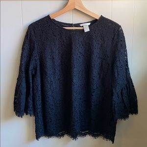 H & M black lace bell sleeve blouse